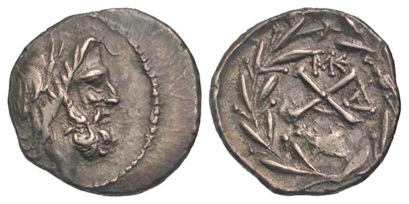 Achaian League, Dyme. ca. 86 B.C. AR hemidrachm.