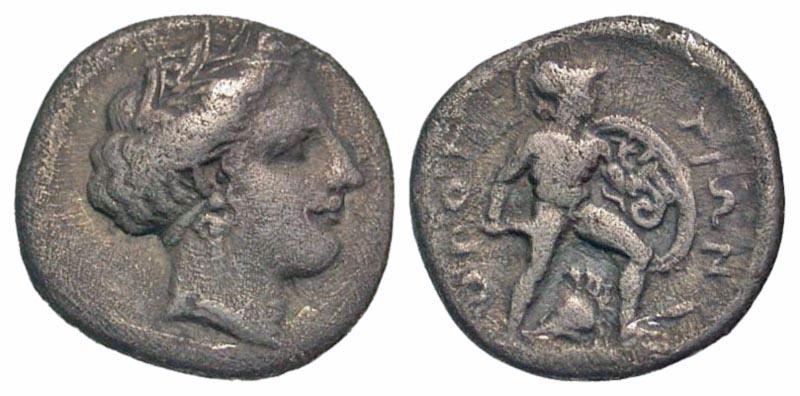 Lokris, Lokris Opuntion. ca. 382-356 B.C. AR triobol.