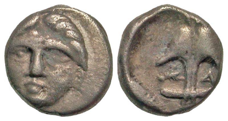 Thrace, Apollonia Pontika. Ca. 450 B.C. AR diobol.