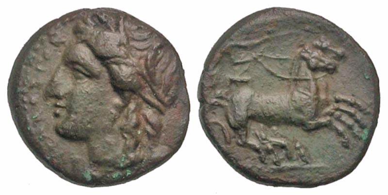Sicily, Syracuse. Hiketas II. 287-278 B.C. AE hemilitron. Ex Elwood Rafn collection.