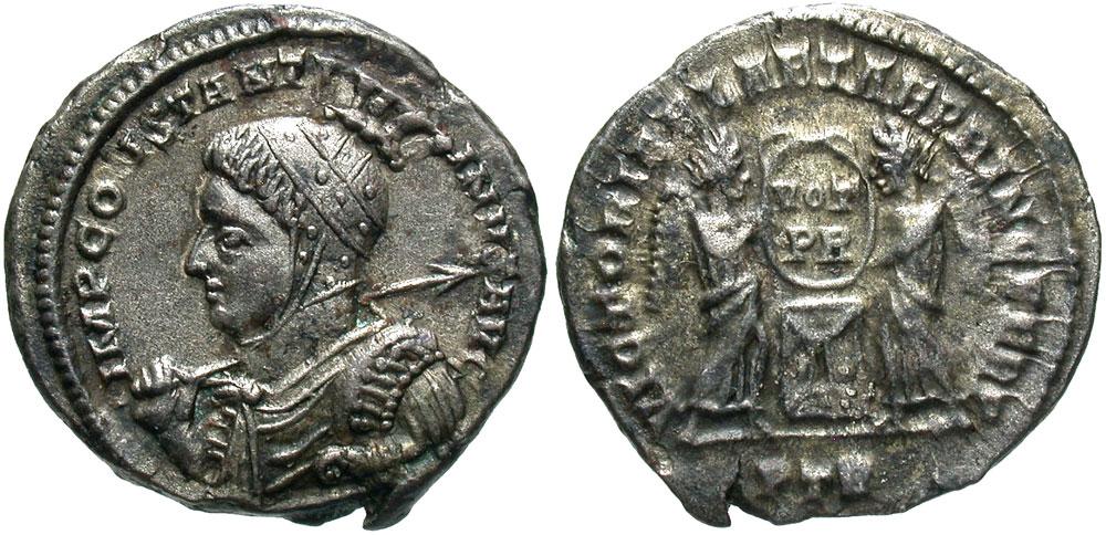 Constantine I. A.D. 307/10-337. BI argenteus. Treveri, A.D. 310-313.