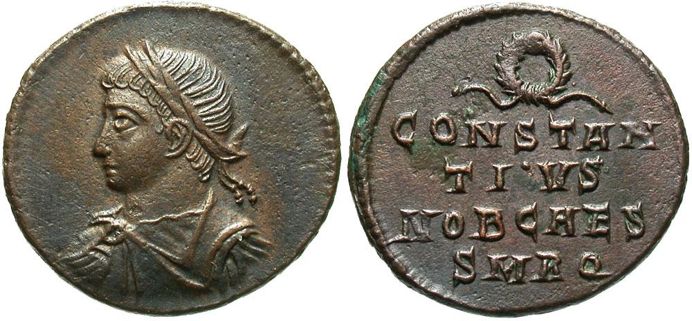 Constantius II. As Caesar, A.D. 324-337. AE follis. Rome, under Constantine I, A.D. .