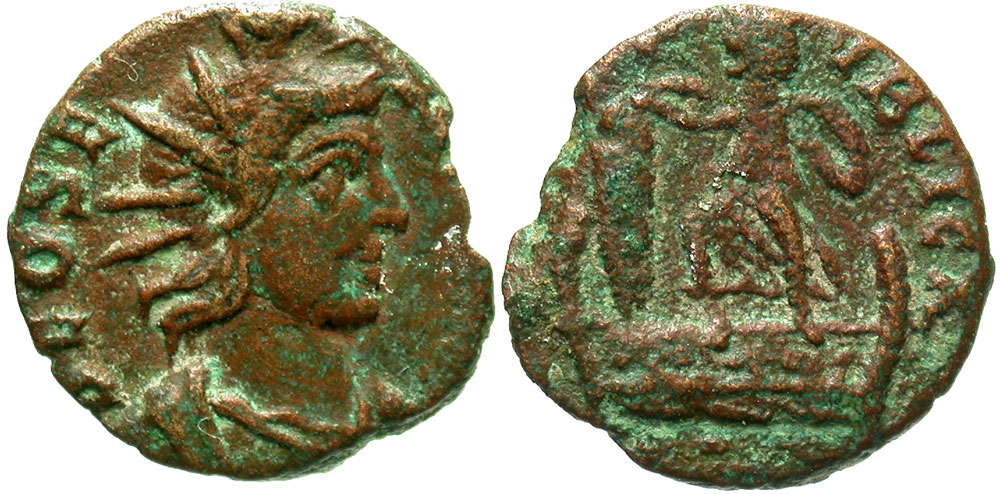 Festival of Isis. Mid 4th century A.D. AE. Extremely rare.
