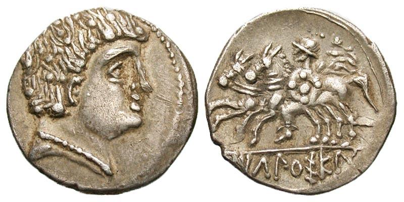 Iberia, Ikalesken. Mid 2nd century BC AR denarius. A superb example.