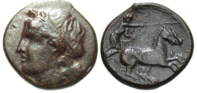 Sicily, Syracuse. Hiketas II. 287-278 B.C. Æ hemilitron.