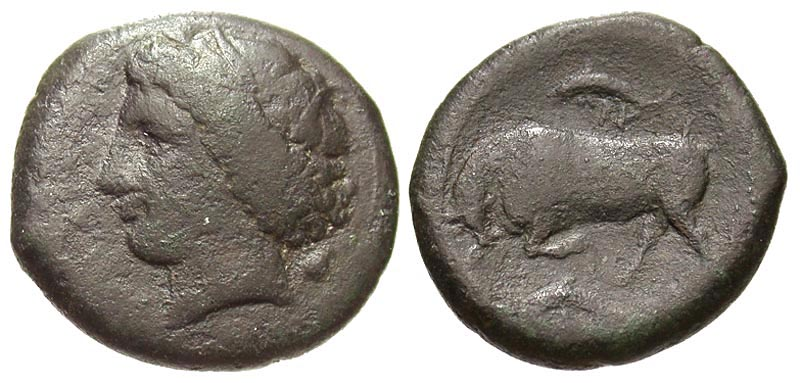 Sicily, Syracuse. Hieron II. 275-215 B.C. Æ 22. Ex Karl Ludwig Grabow collection with original tag.
