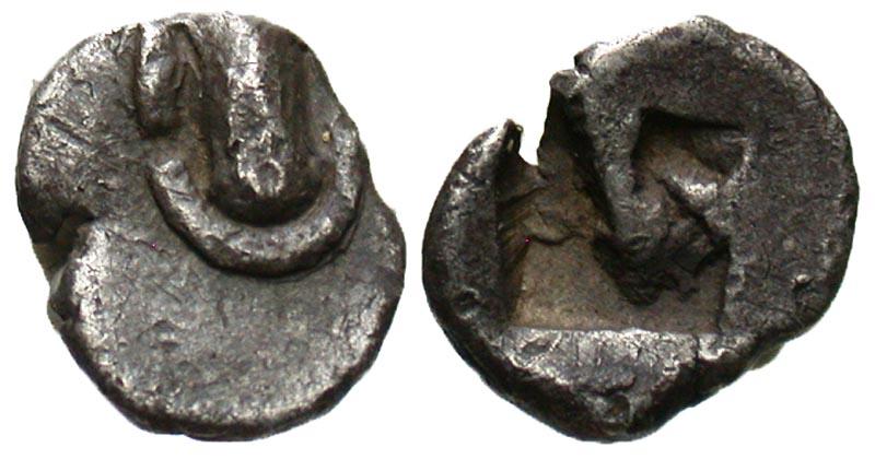 Boiotia, Federal coinage. Ca. 525-480 B.C. AR hemiobol.