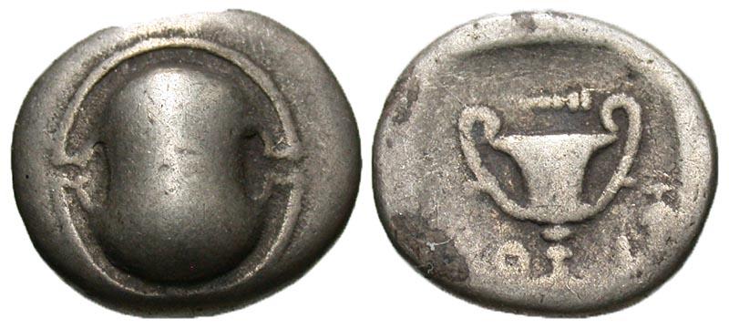 Boiotia, Federal coinage. Ca. 395-340 B.C. AR hemidrachm.