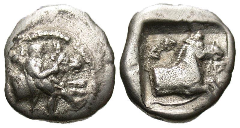 Thessaly, Larissa. Ca. 460-420 B.C. AR hemidrachm. Scarce type.