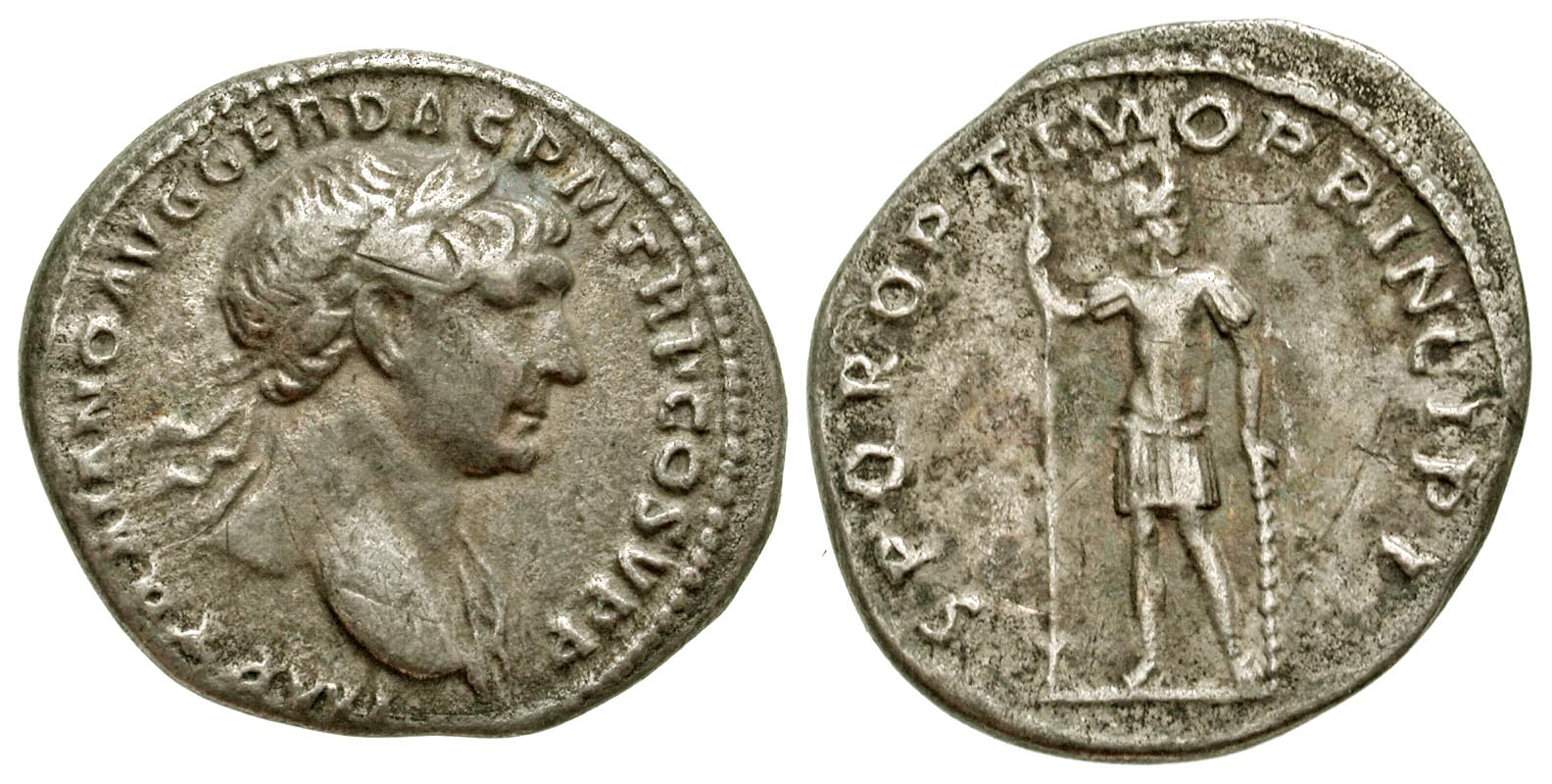 Trajan. A.D. 98-117. AR denarius. Rome mint, Struck A.D. 107. From the Tom Buggey Collection.