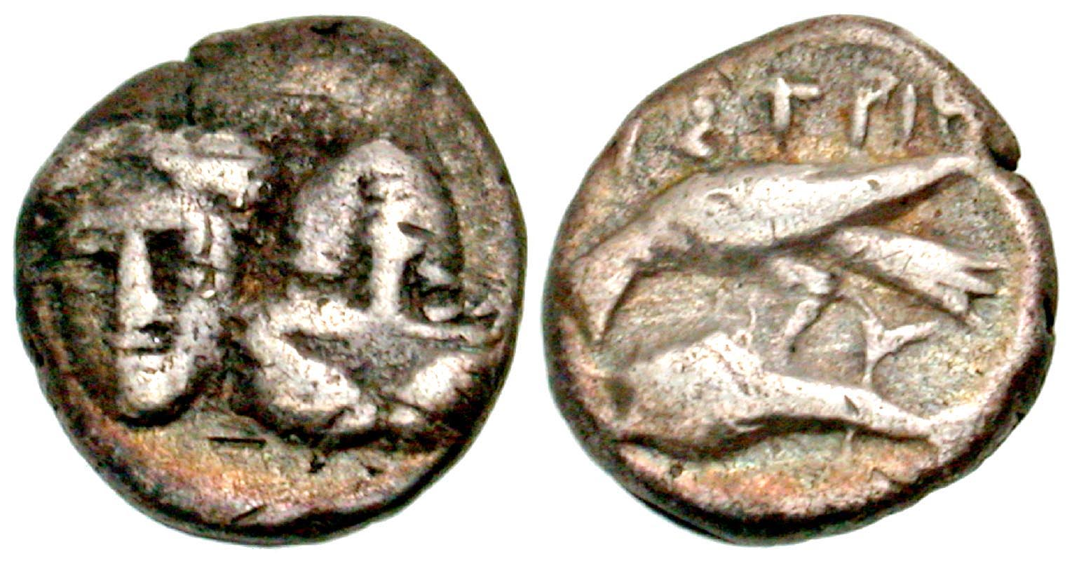 Moesia, Istros. civic issue. 4th century B.C. AR hemiobol. From the D. Thomas Collection.