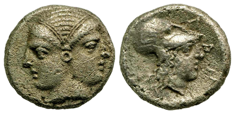 Mysia, Lampsakos. 4th-3rd centuries B.C. AR diobol.