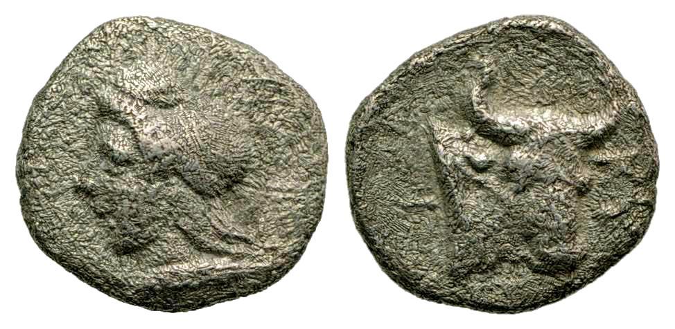 Mysia, Kyzikos. Ca. 450-400 B.C. AR hemiobol.