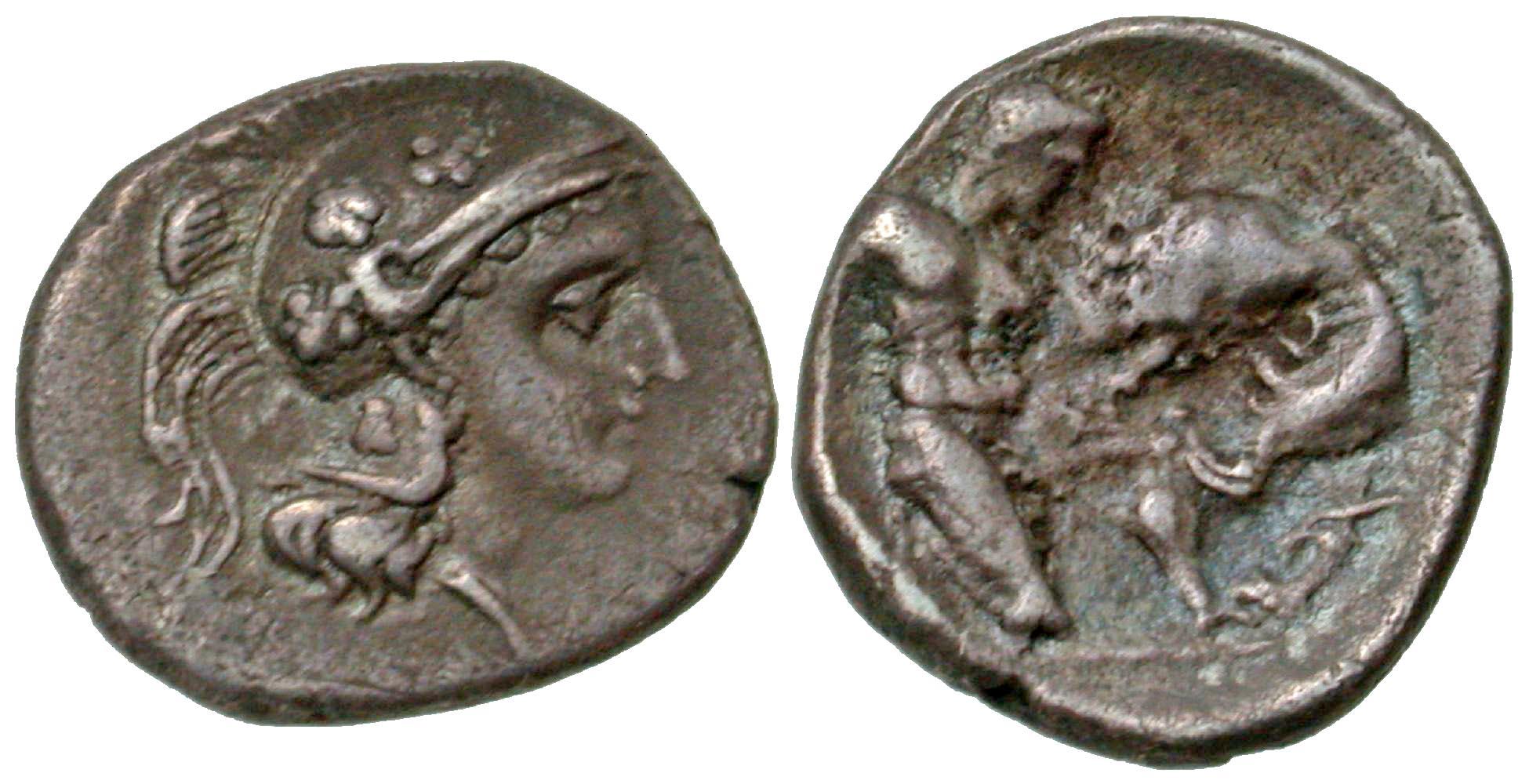 Coin, Calabria, Tarentum, Diobol, EF(40-45), Silver, HN