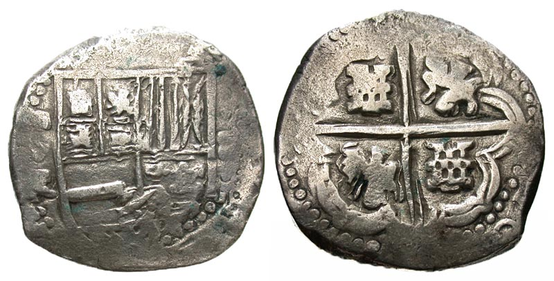 Lot 11 175 Bolivia Philip III 1598 1621 AR 8 Reales Cob Potosi Mint ND Struck 1605 1613