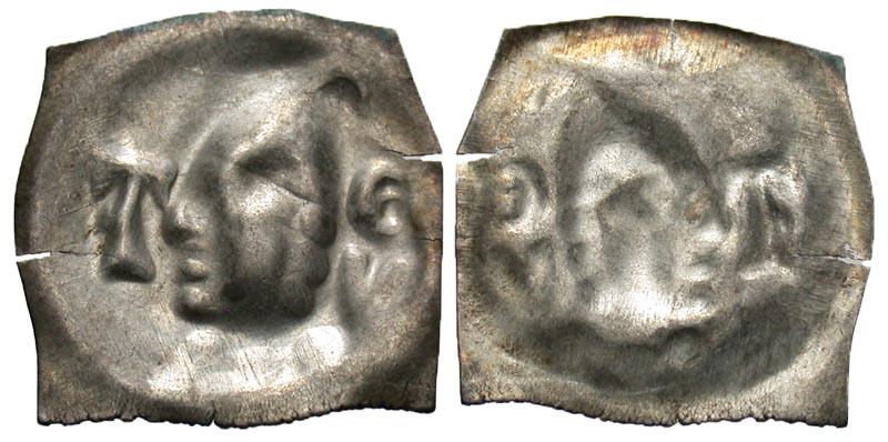 Switzerland, Tiengen. Barons of Krenkingen. ca. 1350-1400. AR bracteate pfennig.