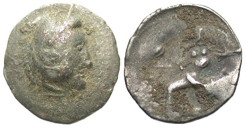 Lower Danube. Uncertain tribe. ca. 2nd century B.C. AR drachm. Imitating Alexander or Philip III of Macedon.