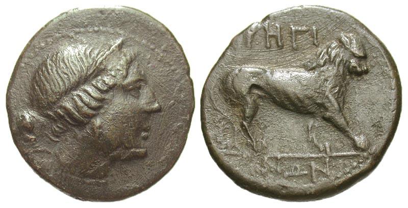 Bruttium, Rhegion. Ca. 260-215 B.C. Æ 22.