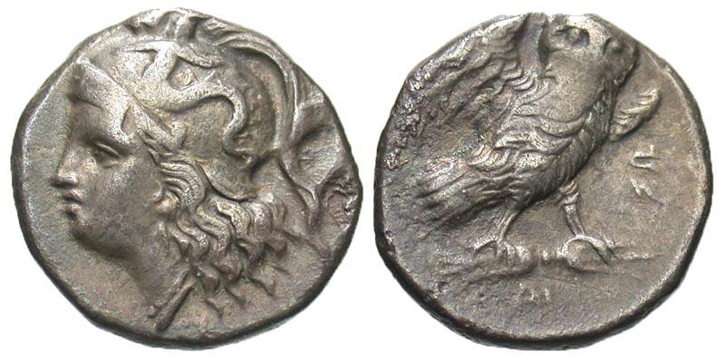 Calabria, Tarentum. Ca. 280-272 B.C. AR drachm.