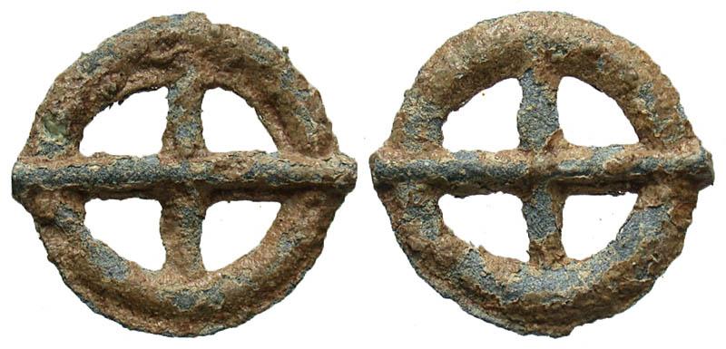 Gaul, Uncertain Tribe. ca. 1st century B.C. Potin wheel.