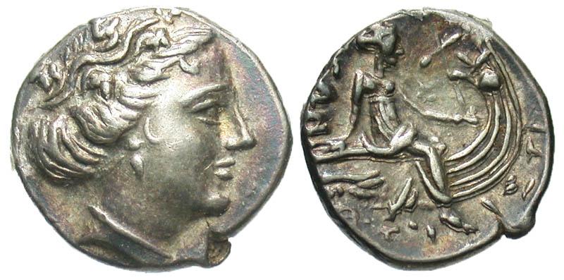 Euboia, Histiaia. ca. 3rd-2nd century B.C. AR tetrobol. Ex Athens collection. In Hollander holder.