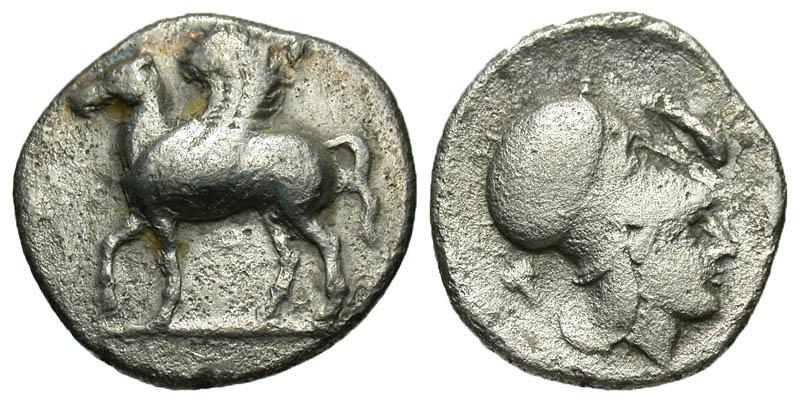 Corinthia, Corinth. 400-350 B.C. AR stater. Rare variety.