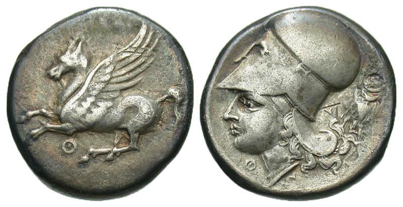 Akarnania, Leukas. 320-350 B.C. AR stater. Ex Athens collection. In Hollander holder.