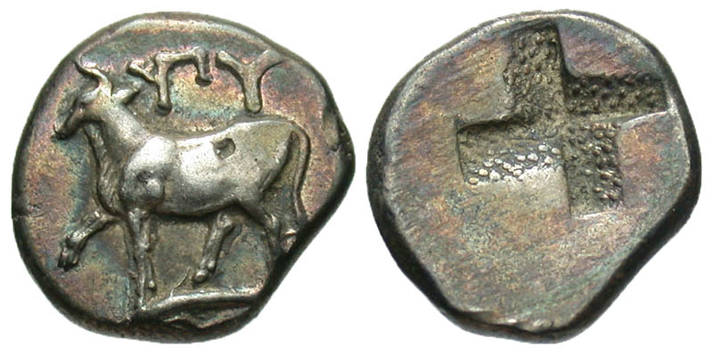 Thrace, Byzantion. 357-340 B.C. AR hemidrachm. Ex Athens collection. In Hollander holder.