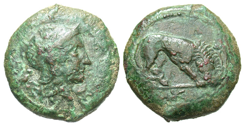Sicily, Morgantina. ca. 339/8-317 B.C. Æ litra. Rare.