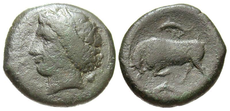 Sicily, Syracuse. Hieron II. 275-215 B.C. Æ 22. Ex Karl Ludwig Grabow collection with original tag.