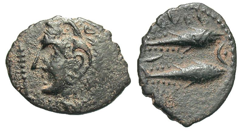 Iberia, Gadir. Early 1st century B.C. Æ half unit.