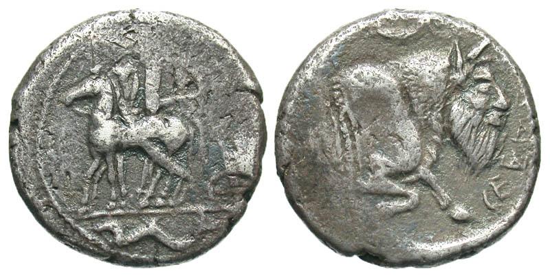 Sicily, Gela. Ca. 465-450 B.C. AR tetradrachm. Very Rare variety.