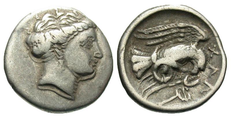 Euboia, Chalkis. Ca. 338-308 B.C. AR drachm.