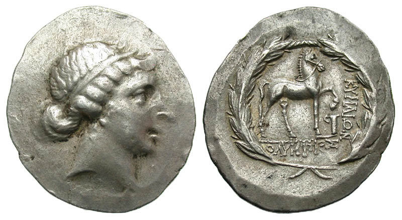 Aiolis, Kyme. Ca. 165/55-145/0 B.C. AR tetradrachm. Stephanophoric type. Olympios, magistrate. Scarce.