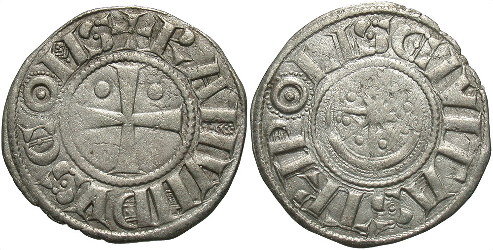 Crusader States, County of Tripoli. Raymond II-III. 1137-1187. BI denier. Struck late 1140s-1164.